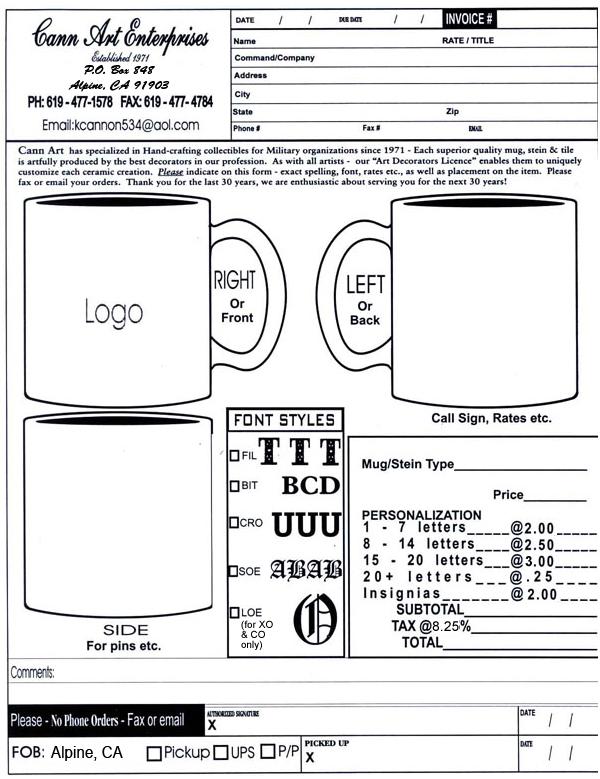 Mug Order Form